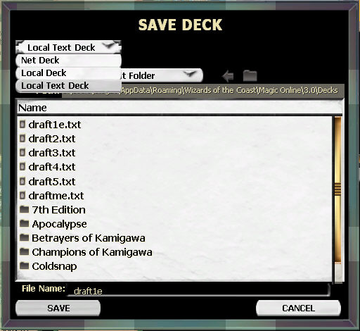 Deck speichern als Local Text